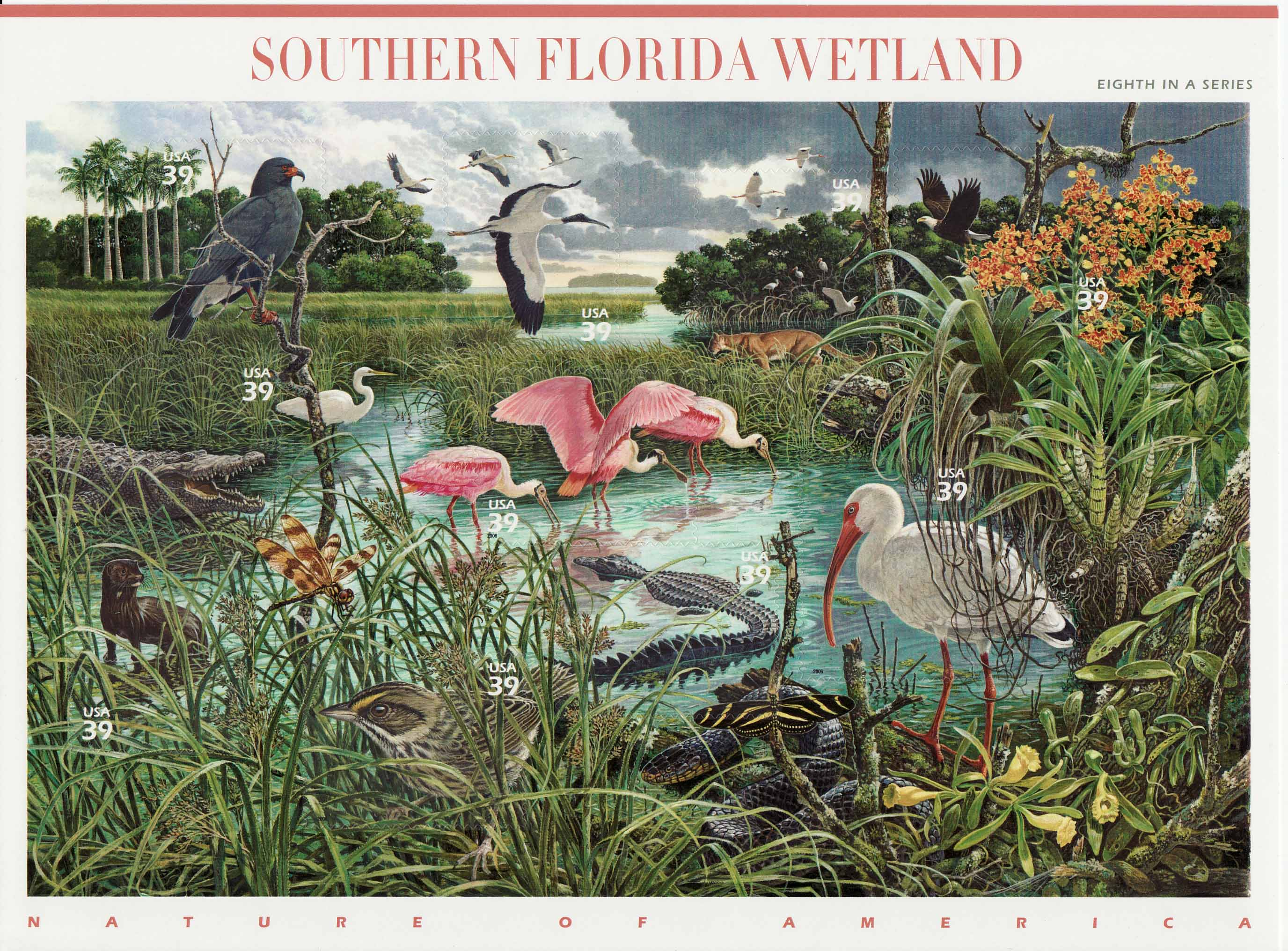 Southern Florida Wetlands stamp sheet