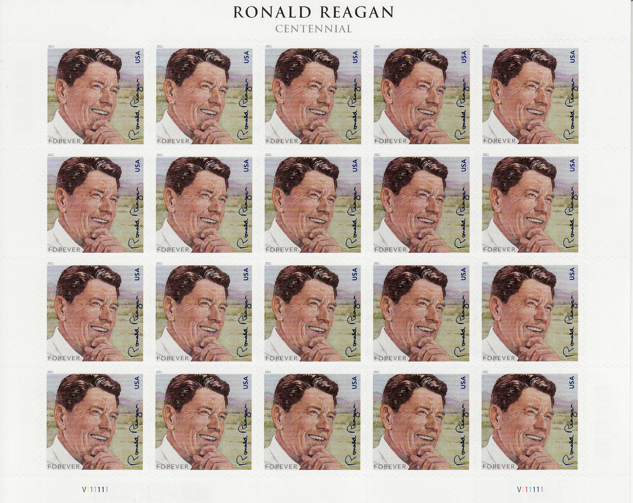 President Ronald Reagan Centennial stamp sheet