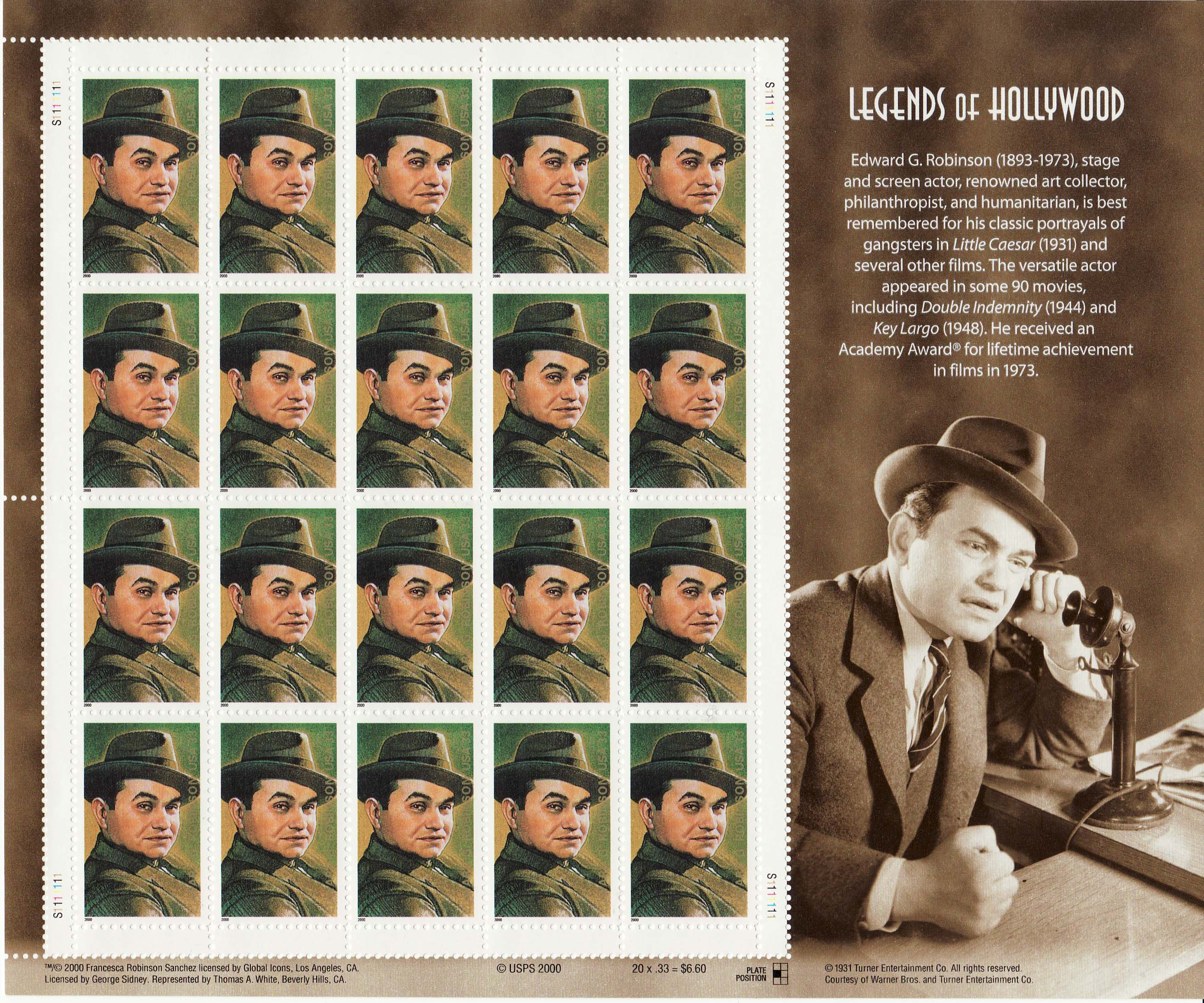 Edward G. Robinson stamp sheet