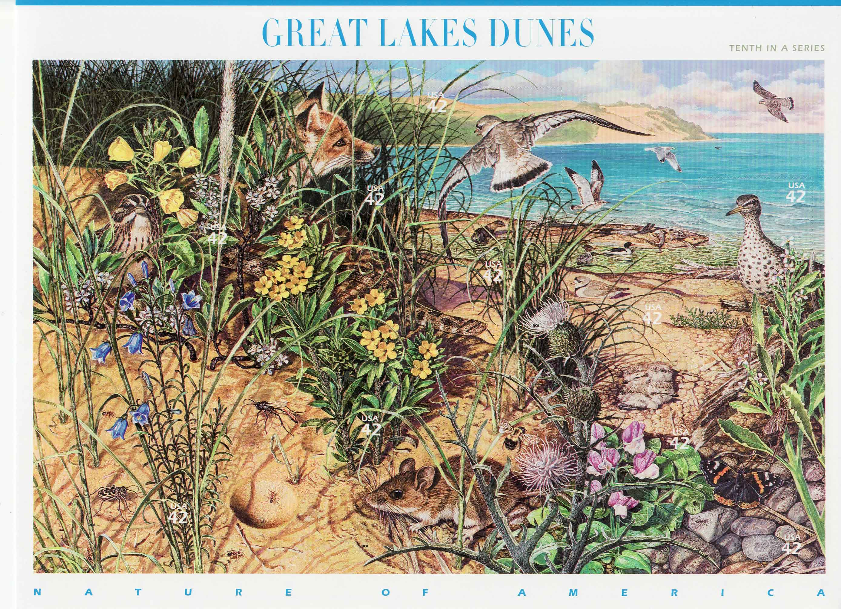Great Lakes Dunes stamp sheet