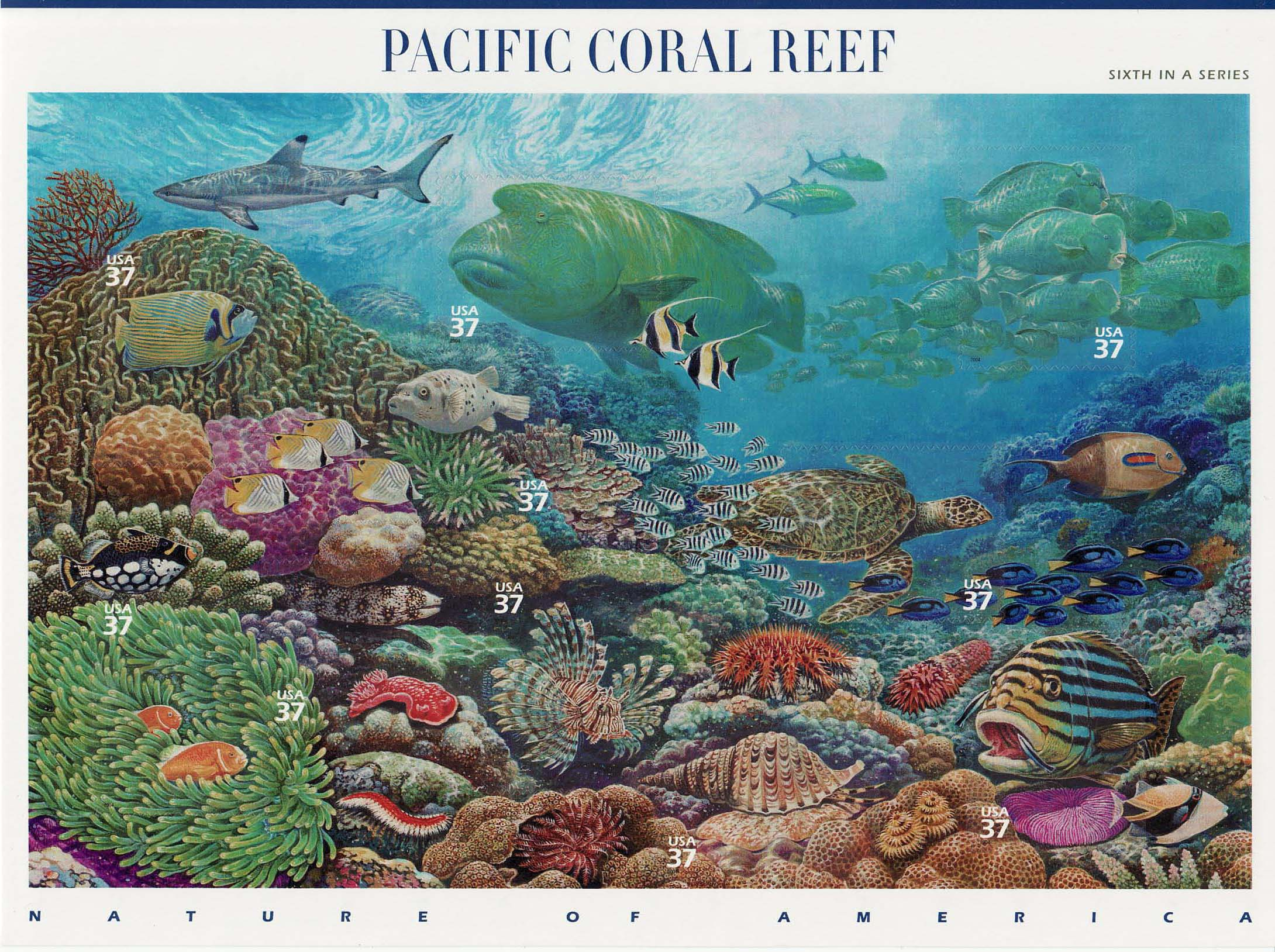 Pacific Coral Reef stamp sheet