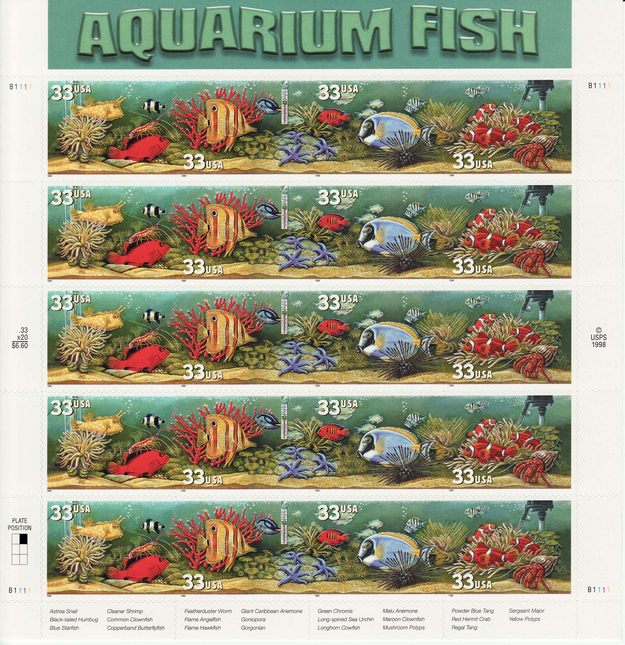 Aquarium Fish stamp sheet
