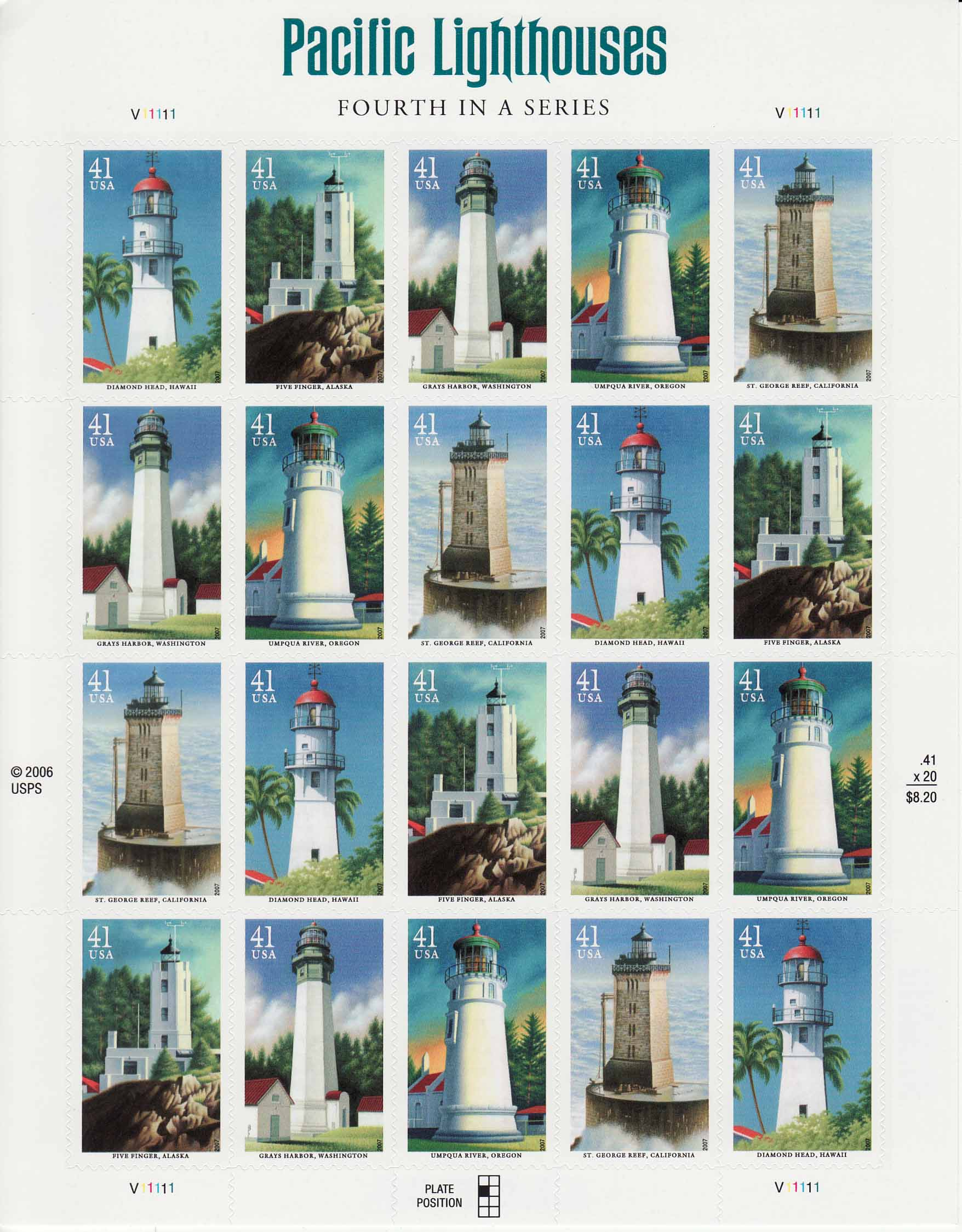 Pacific Coast Lighthouses stamp sheet