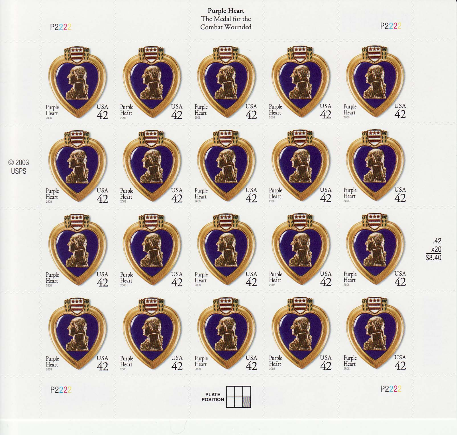Military Purple Heart stamp sheet, 42 cent