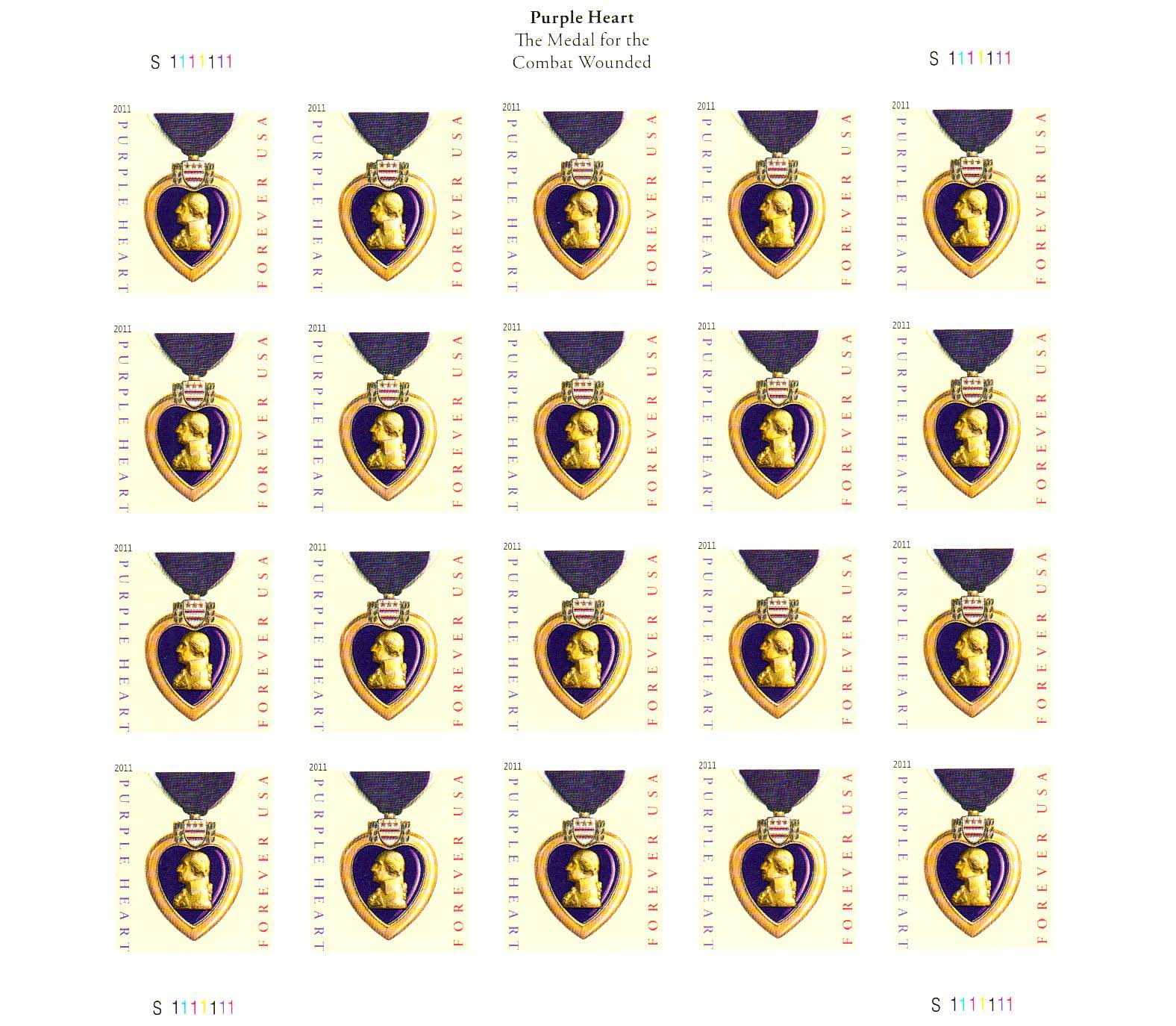 Military Purple Heart stamp sheet, Forever stamp